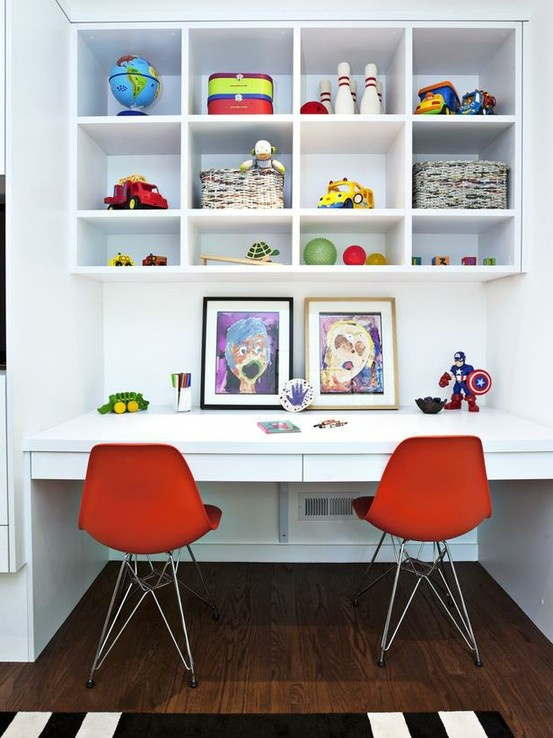 kids desk - love the bright red chairs