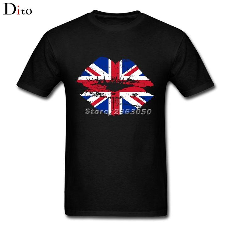 GB UK Flag Union Jack Lip Tees Shirt Men Man's Homme Custom Short Sleeve Boyfriend's Plus Size Team  Tshirt #Affiliate