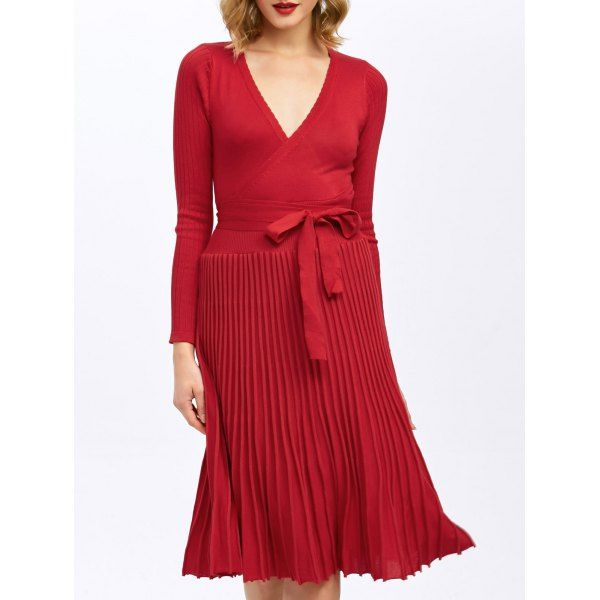 Pleated Knitted Surplice Dress - RED L