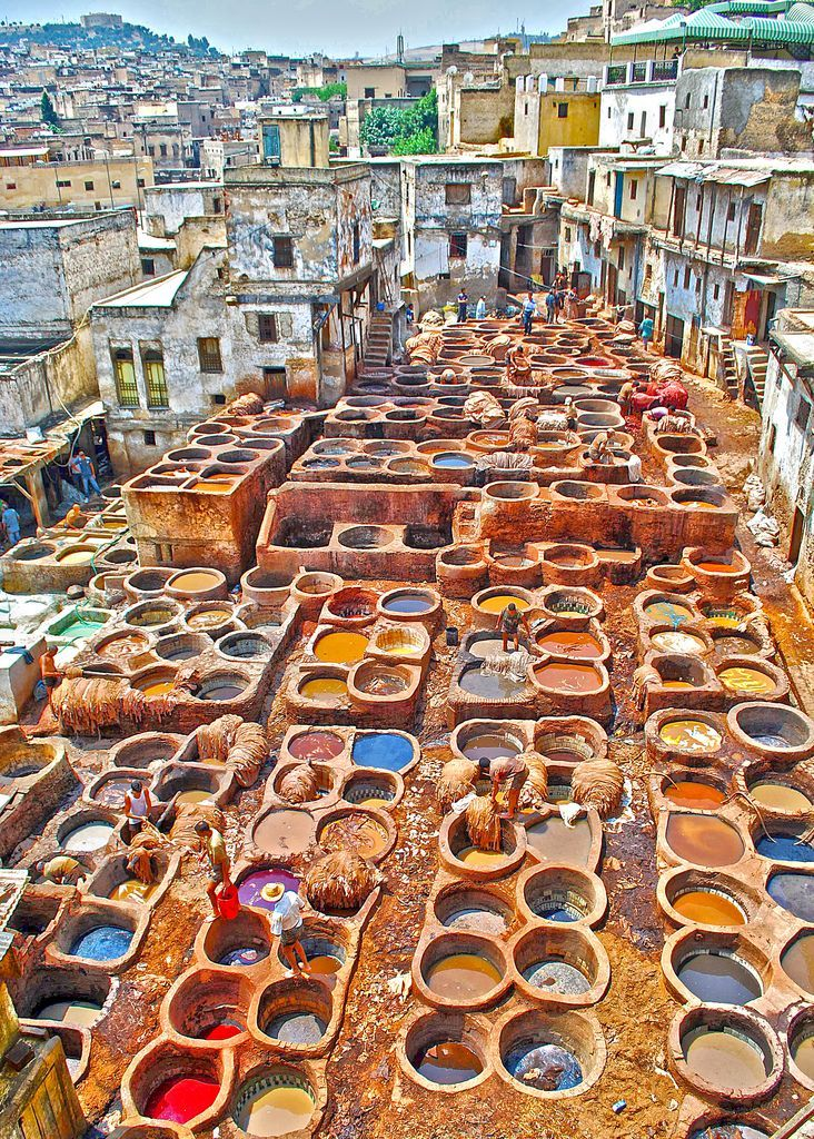 Tanneries in Fez, #Morocco where our beautiful bags are handmade from start to finish #leather #colourful http://be-snazzy.com/collection/morocco