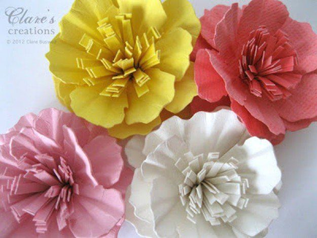 Paper Carnation Flower | 10 Flower Craft Ideas: How to Make Construction Paper Flowers