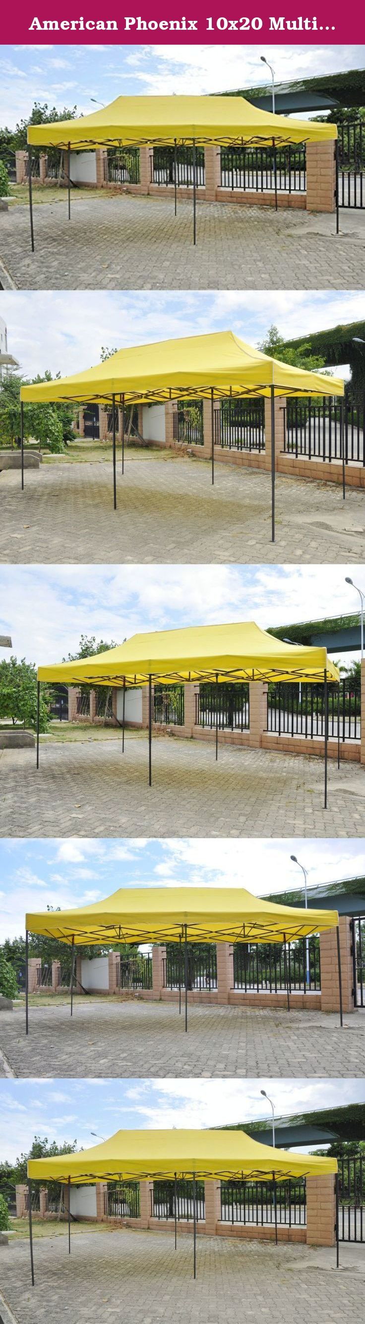 American Phoenix 10x20 Multi Color and Size Portable Event Canopy Tent, Canopy Tent, Party Tent Gazebo Canopy Commercial Fair Shelter Car Shelter Wedding Party Easy Pop Up (Yellow, 10x20). You are bidding on Water resistance material canopy tent. Great for setting up at a park or in your own back yard. No tools necessary to assemble. Perfect for Arts and Craft Shows, Swap Meets, Flea Markets, Garage Sales, Fairs, Bake Sales, Camping, Picnics, Parties, Sporting Events... the possibilities…