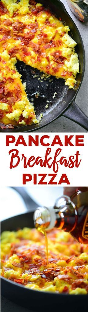 This Pancake Breakfast Pizza recipe with a pancake crust, scrambled eggs, cheese and bacon drizzled with maple syrup is an easy breakfast or brunch idea!