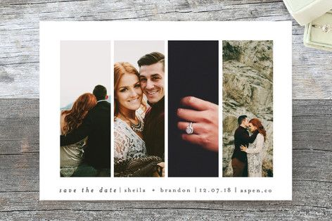 """Special Snapshots"" - Classical, Modern Save The Date Postcards in Charcoal by Bethan."