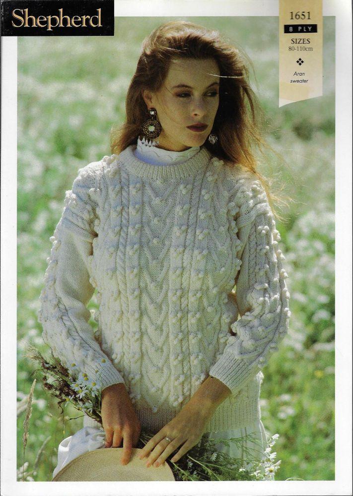 533d19051 Women s Cable Aran Bobble Sweater Shepherd 1651 knitting pattern 8 ply yarn   Shepherd
