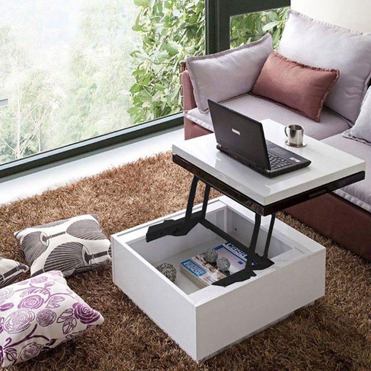 Tavolino con superficie ribaltabile e contenitore interno