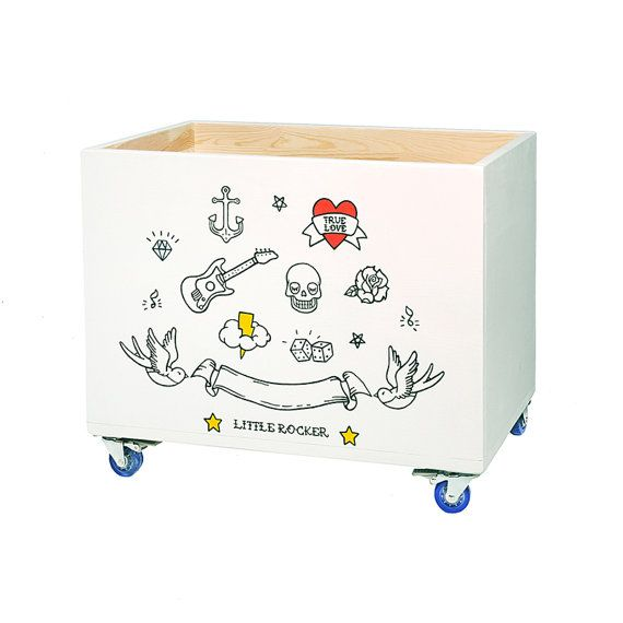 Wooden toy box on casters, wheels. Handpainted, handmade white toy storage, toy chest, toy crate. Rock style kid's furniture.