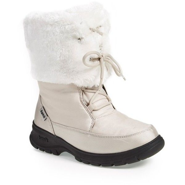 Women's Kamik 'Seattle' Fuzzy Boot ($110) ❤ liked on Polyvore featuring shoes, boots, kamik boots, kamik, winter boots, fold over winter boots and faux fur shoes