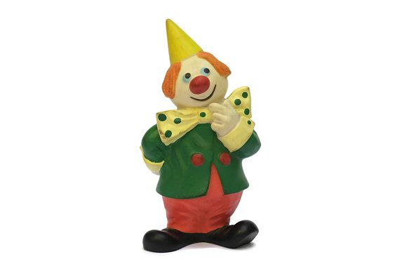 Kiri le Clown Rubber Squeaker Toy by Jean Image. 1960s Rubber