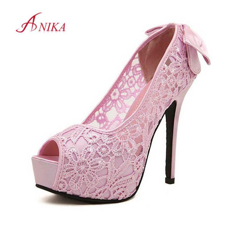 New 2015 européenne marque dames Sexy arc dentelle chaussures de mariage haute talons plate   forme pompes pour les femmes sapatos femininos GG0184 dans Ballerines pour femmes de Chaussures sur AliExpress.com | Alibaba Group