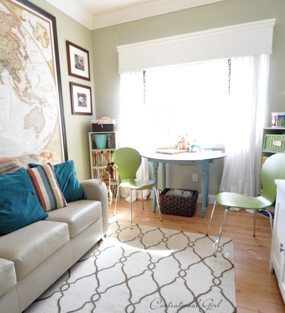 The kids' playroom is another custom color that was a mix of the Dutch boy paint from these green chairs, and the leftover 'Camouflage' from the dining and family room.   The closest color matches are 'Woodland Mystery' by Glidden and Benjamin Moore Affinity 'Elemental'.