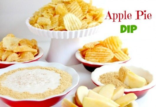 Apple Pie Dip (1 bag Kettle Brand Chips  1 (21 oz.) can apple pie filling  4 oz reduced fat cream cheese  ¼ cup tablespoons sour cream  1 tablespoon brown sugar  1 teaspoon pumpkin pie spice)