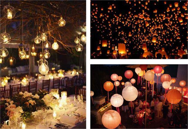 Iluminación original para tu boda con globos de luz, velas voladoras y bombillas