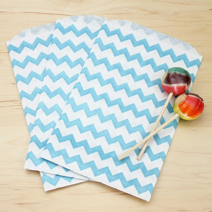 Blue Chevron Bags | 20ct for $5.50 in Paper Bags - Packaging