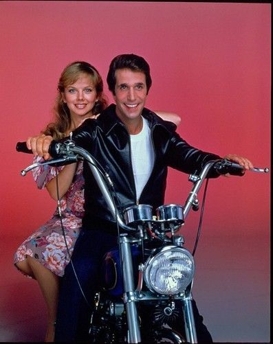 HENRY WINKLER ON MOTORCYCLE LINDA PURL HAPPY DAYS 1981 ABC TV PHOTO TRANSPARENCY #Photos