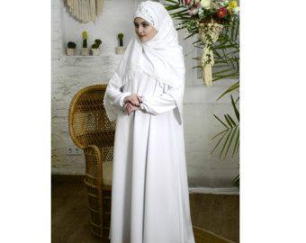 Blanc robe Maxi, mariage Abaya, robe Oversize, vêtements de mariée musulmane, robe basique, robe élégante, grande taille robe, à manches longues Burqa