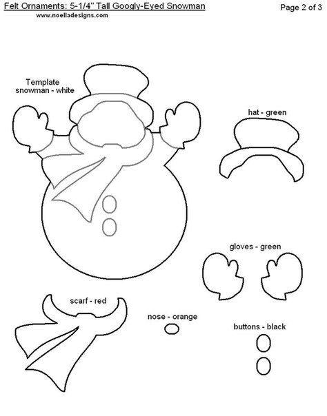 ручные елочные игрушки из фетра - игрушки-снеговички: