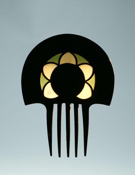 Art Déco - Auguste Bonaz - Peigne d'ornement à effets vitrail vert et jaune - Celluloïd noir