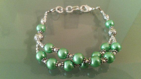 Bracciale 925 Sterling Silver pietre agata verde di Rosasbijoux