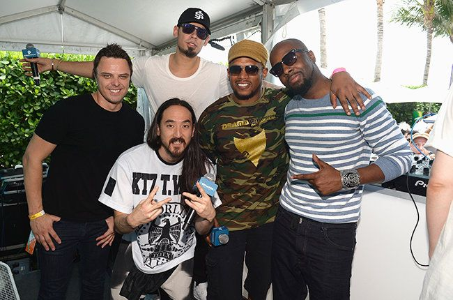 Markus Schulz, Steve Aoki, Afrojack, Wyclef Jean and Sway Calloway attend SwayJack Radio hosted by Sway Calloway and Afrojack live from the SiriusXM Music Lounge at W Hotel on March 26, 2015 in Miami, Florida.