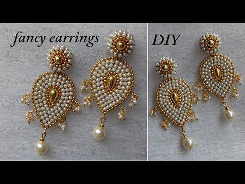 DIY || How to make designer paper earrings at home || fancy designer earrings - YouTube