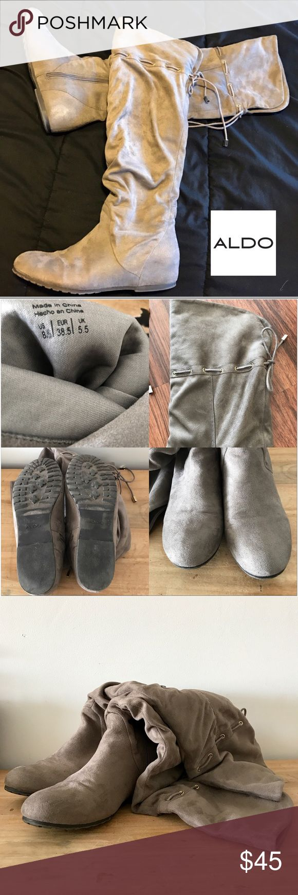 Over the knee microfiber gray Aldo boots size 8.5 Over the knee microfiber gray Aldo boots size 8.5 This is like new, only wear once, no marks or stretch at all, beautiful gray color.  Smoke free home, no trade. Aldo Shoes Over the Knee Boots