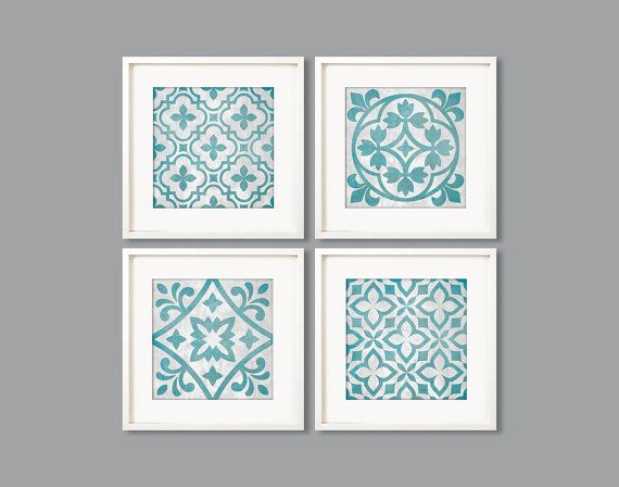Turquoise and Grey Tile Pattern 8x8 printable by Especia on Etsy