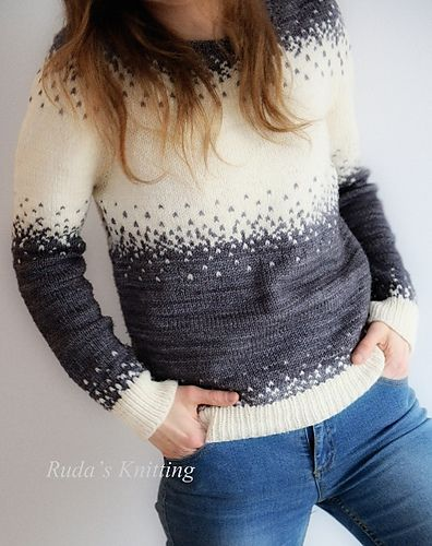 Pixelated Pullover by Jennifer Beaumont ¬ malabrigo Rios in Plomo