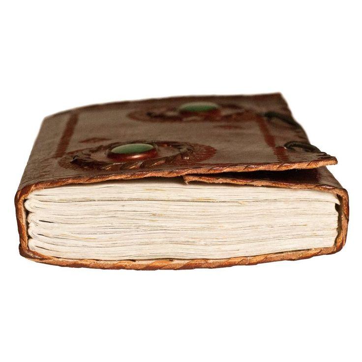 HANDMADE GREEN - VINTAGE GENUINE LEATHER BLANK JOURNAL - Travel Diary Sketchbook