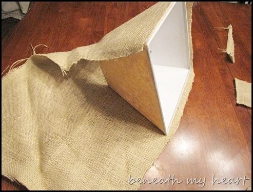 recovering lamp shades with burlap
