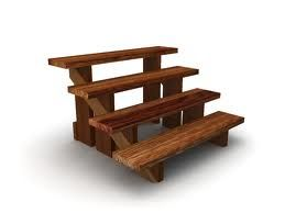 Moveable Wooden Outdoor Steps   Open And Dark