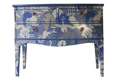 Wallpapered Furniture - the WHOLE piece - love it!