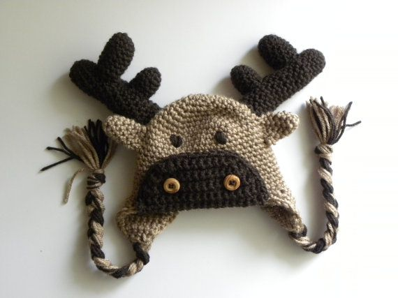 CROCHET PATTERN - Moose or Reindeer Crochet Hat w ...