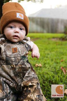 Sweet little Jack in Carhartt Camo Ripstock Bibs.