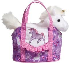 £16.50 - Douglas Cuddle Toys, Unicorn Pet Sak / Unicorn in a Bag. This gorgeous little adventurer is already in his own bag ready to be picked up at a moments notice. Easily carted from room to room, his little bag also comes in handy for other small treasures.  Unicorn is removable.