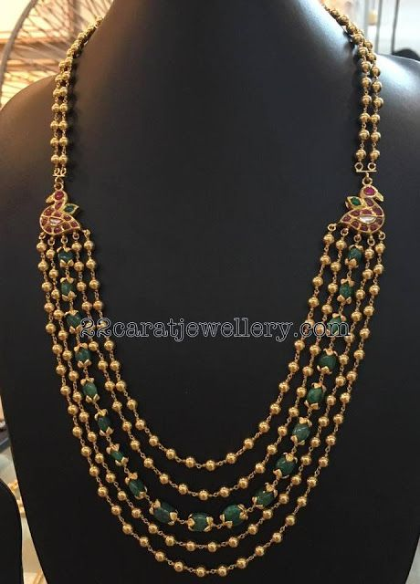 Gold Balls with Emerald Beads Mala - Jewellery Designs