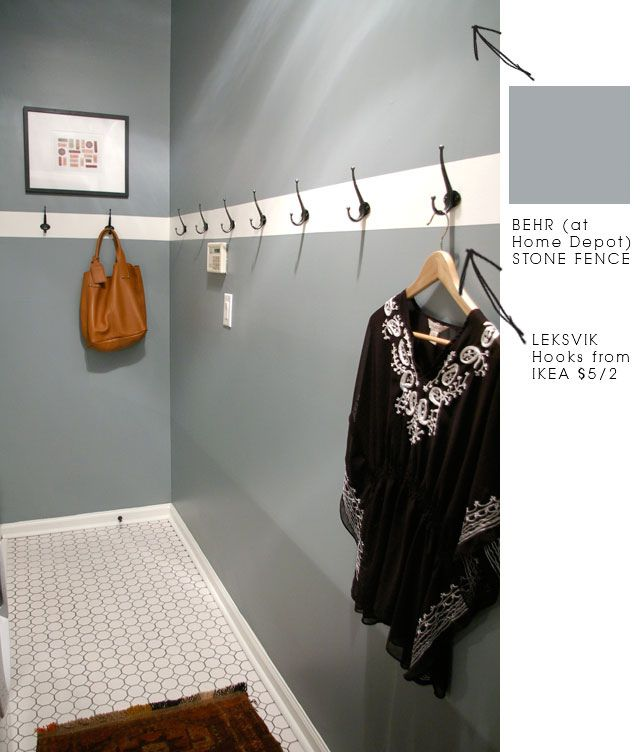 love this wall color for our bedroom, maybe. Love the idea of adding hooks to the wall in the laundry room, it seems i never have enough space to hang all of my clothes