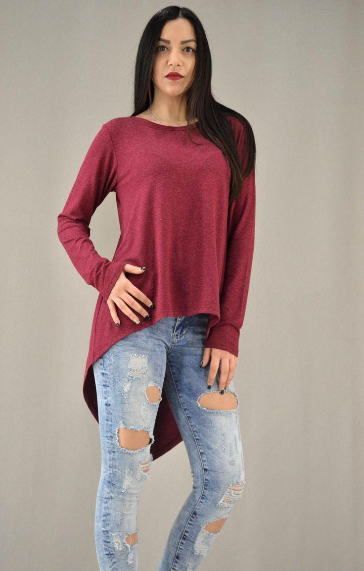 Γυναικεία μπλούζα ασύμμετρη με άνοιγμα MPLU-0870-bu | Γυναίκα Μπορντό