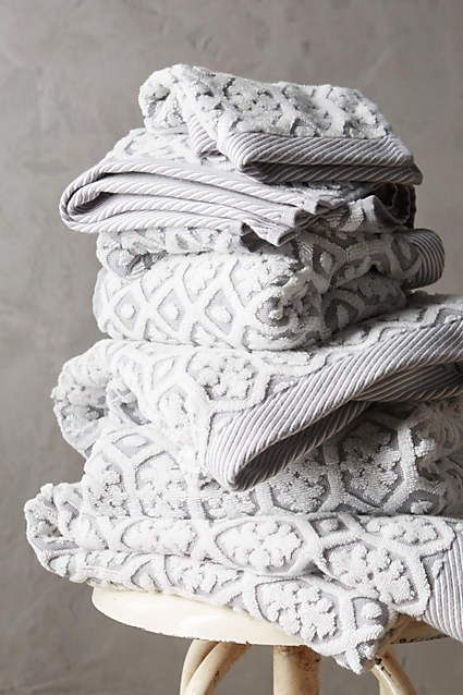 Would like this in gray one of each, will look cute in the guest bathroom.  Tarren Towel Collection - anthropologie.com