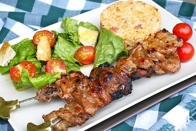Filipino barbecued pork skewers