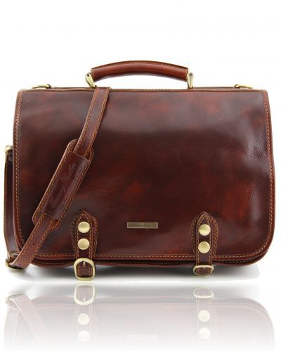 Capri - Leather messenger bag 2 compartments Brown