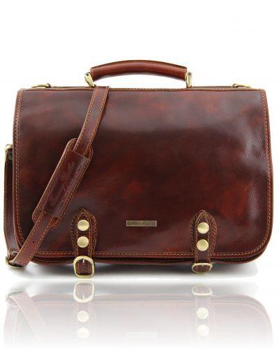 Capri - Leather messenger bag 2 compartments Brown