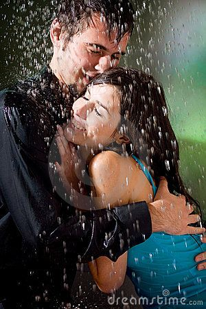 Couple Hugging Under A Rain Royalty Free Stock Image - Image: 2162016