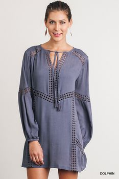 R7034 UMGEE Bohemian Cowgirl Keyhole Dress with Lace Details