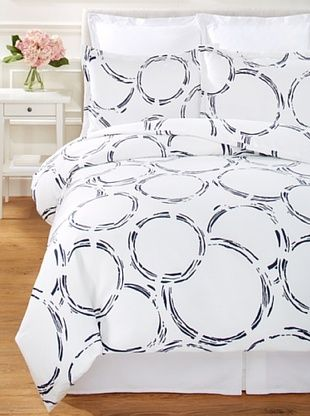 70% OFF Errebicasa Circle Duvet Set (White/Navy)