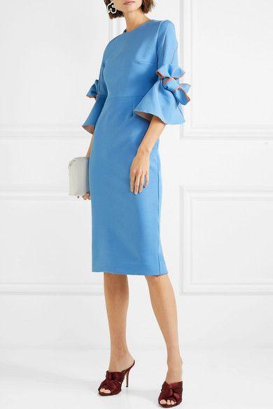 Azure crepe Zip fastening along back 80% polyester, 14% viscose, 6% elastane; lining: 100% silk Dry clean Designer color: Agapanthus Made in England