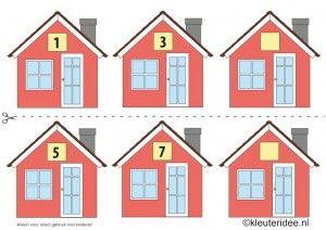 CITOvaardigheden voor kleuters, Welk nummer heeft het huisje in de straat oneven nrs 1, kleuteridee.nl , What number is the house in the str...