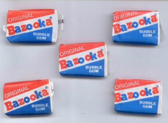 a mouthful of happiness....with a Bazooka Joe comic to boot!