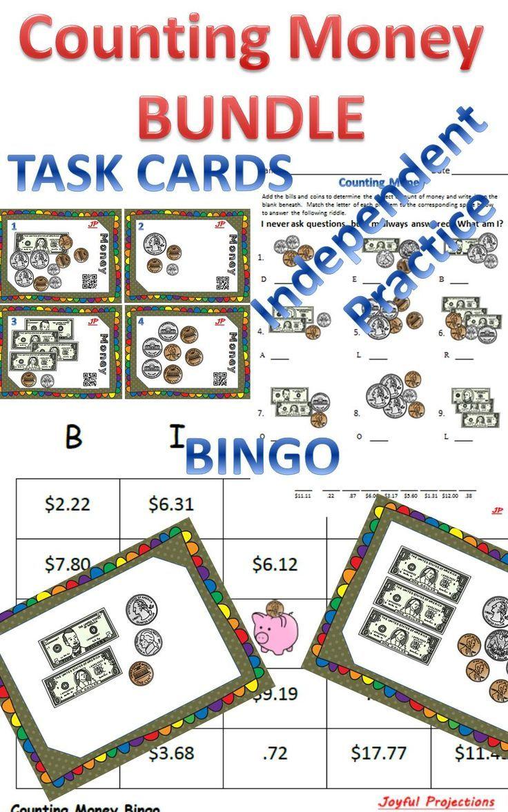 money bundle bingo task cards worksheets w riddles math for second grade pinterest. Black Bedroom Furniture Sets. Home Design Ideas