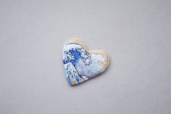 Art gift for artist heart embroidery wave jewelry be my